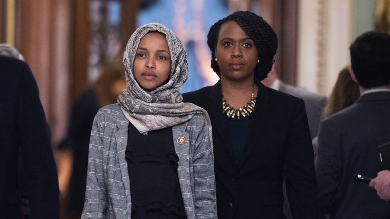(l-r) Ilhan Omar, D-Minn., and Ayanna Pressley, D-Mass., leave the Senate floor in the Capitol after a vote on a continuing resolution to re-open the government which failed, on Thursday, January 24, 2019.