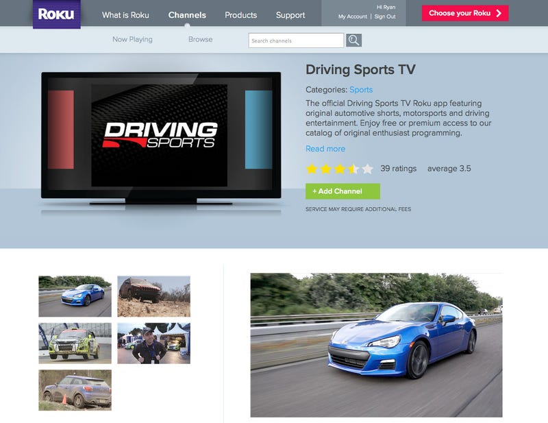 Illustration for article titled Driving Sports TV on Roku now International