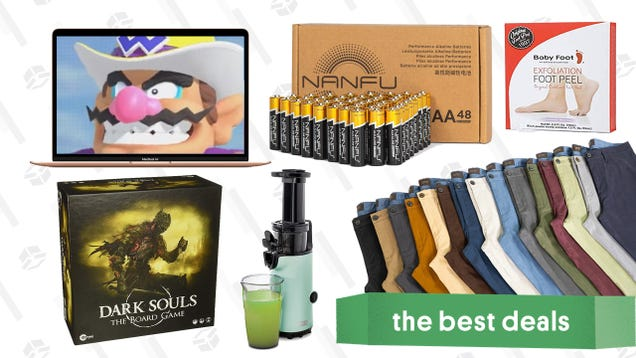Thursday s Best Deals: 48-Pack Batteries, M1 MacBooks and Mac Mini, JACHS NY Pants, Cold-Press Juicer, Exfoliating Foot Peel, Dark Souls Board Game, and More