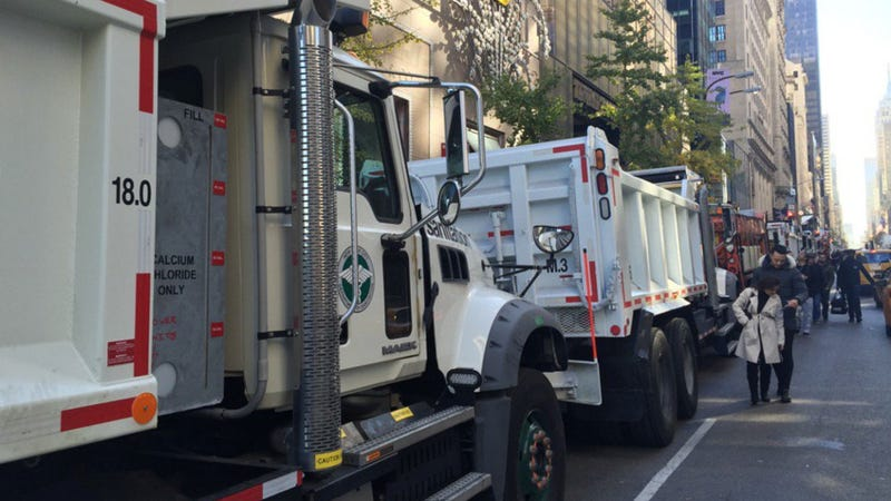 Dump trucks surround Trump Tower and Javits Center on Election Day