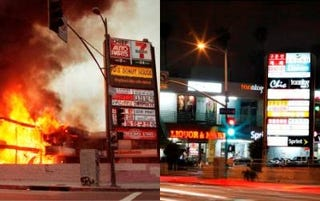An L.A. shopping mall, shown in 1992 and 2012 (Hyungwon Kang/Reuters/Newscom)