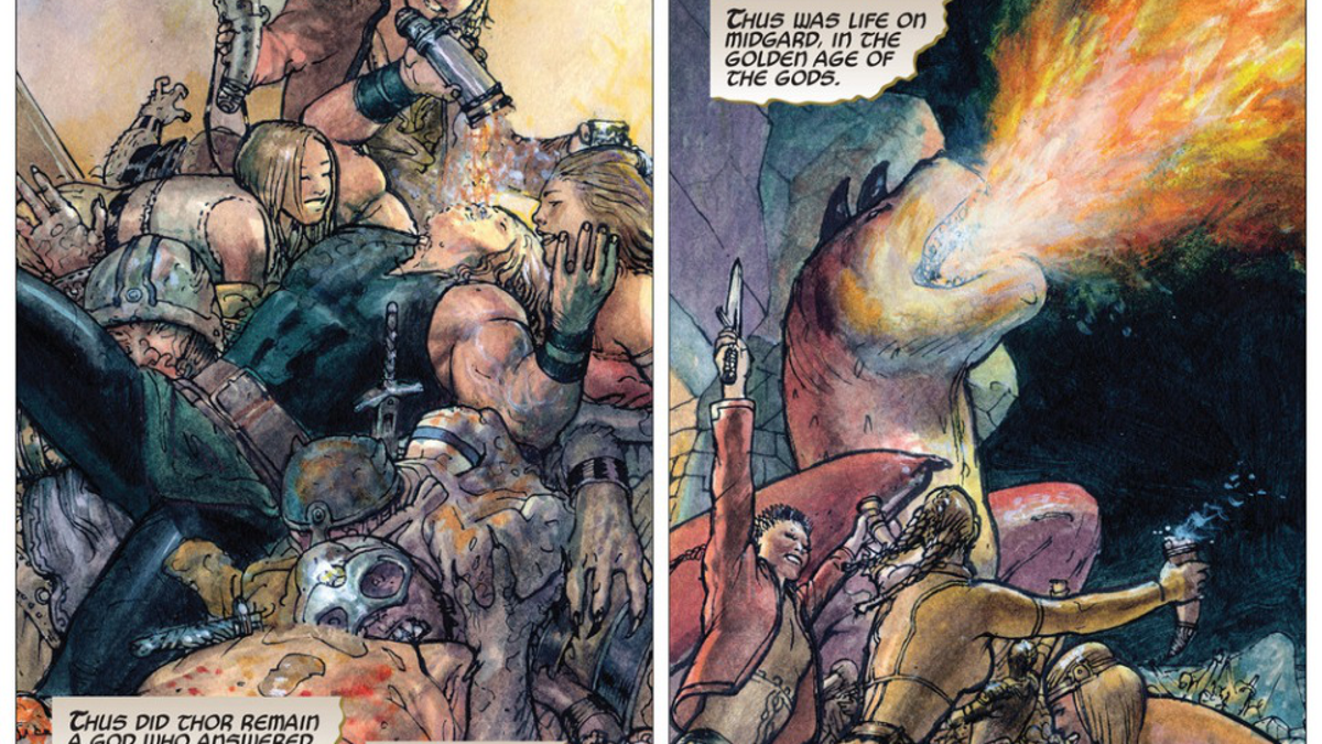 Thor: God Of Thunder fights a drunken dragon in a gorgeous