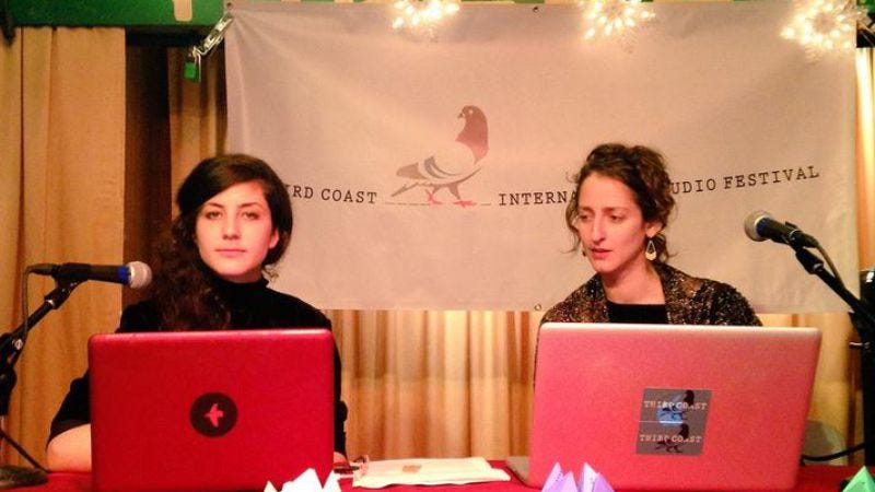 Maya Goldberg-Safir and Sarah Geis host a podcast therapy session at The Hideout in Chicago