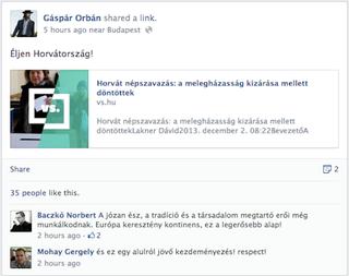 Illustration for article titled Orbán Gáspár ünnepel, hogy nem házasodhatnak a melegek