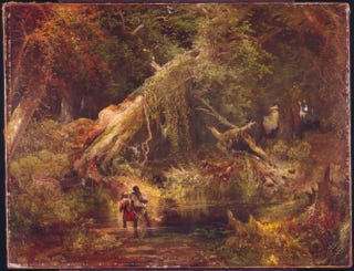 Thomas Moran, Slave Hunt in the Great Dismal Swamp, 1862. Oil on canvas, 86.4 by 111.8 cm.The Philbrook Museum of Art, Tulsa, Okla.