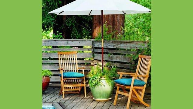 diy planter patio umbrella stand. Black Bedroom Furniture Sets. Home Design Ideas