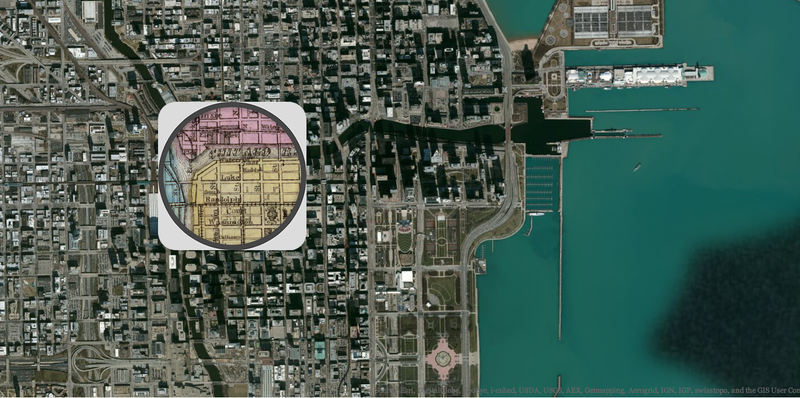 Illustration for article titled This Clever Map Compares Chicago Before and After the Great Fire