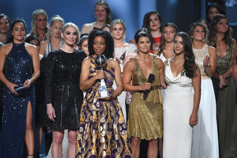 (L-R) Host Danica Patrick, Sarah Klein, Tiffany Thomas Lopez, Aly Raisman and recipients of the Arthur Ashe Award for Courage speak onstage at The 2018 ESPYS at Microsoft Theater on July 18, 2018 in Los Angeles, California.