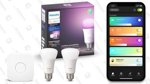 Philips Hue Two Bulb Starter Kit   $78   Amazon