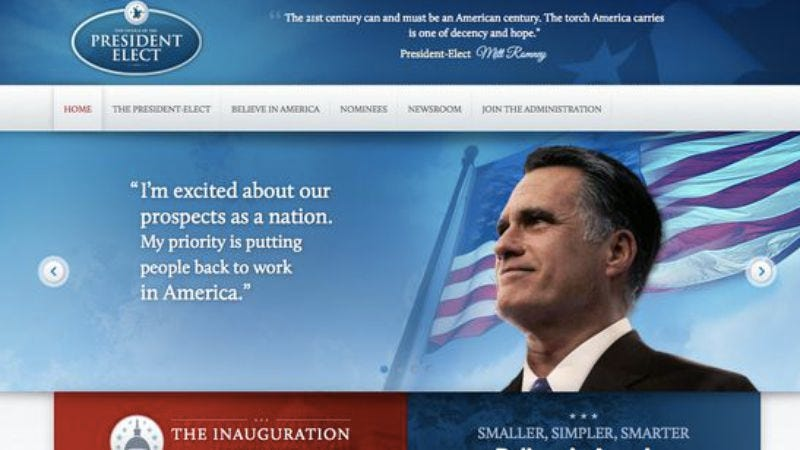 Illustration for article titled The Romney transition website provides a glimpse of what could've been