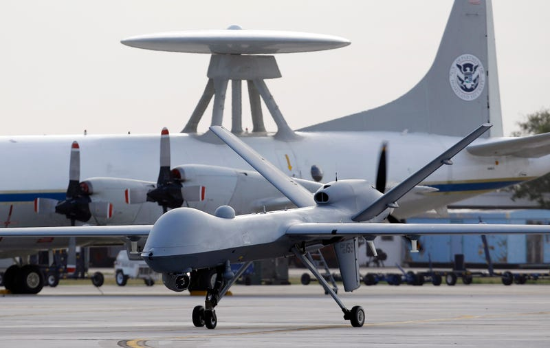 In this Nov. 8, 2011 file photo, a Predator B unmanned aircraft taxis at the Naval Air Station in Corpus Christi, Texas. AP Photo/Eric Gay, File