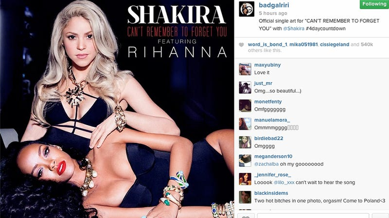 Illustration for article titled Rihanna and Shakira Are Beautiful Photoshop Femmebots in New Song Art