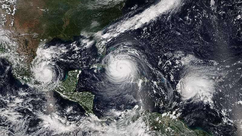 Hurricanes Irma (center), and Jose (right) are examples of hurricanes that experience rapid intensification.