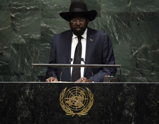 Salva Kiir, president of the Republic of South Sudan, speaks during the 69th Session of the United Nations General Assembly Sept. 27, 2014, in New York City.TIMOTHY A. CLARY/AFP/Getty Images