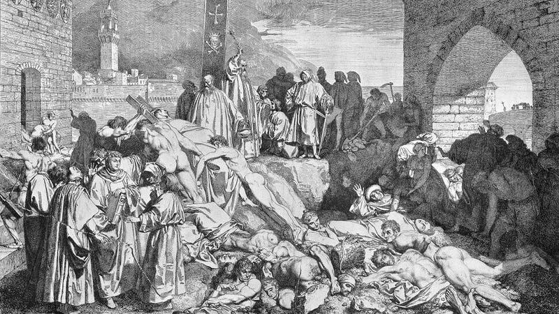 The plague of Florence in 1348, as conveyed in Boccaccio's Decameron. (Image: Wikimedia)
