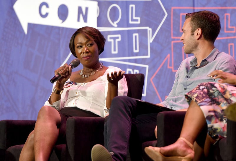"Joy Ann-Reid and Jon Favreau at the ""Pod Save America"" panel during Politicon at the Pasadena Convention Center on July 29, 2017, in California"