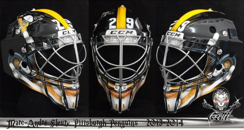 Illustration for article titled Marc-Andre Fleury's Stadium Series Mask Looks Like A Steelers Helmet