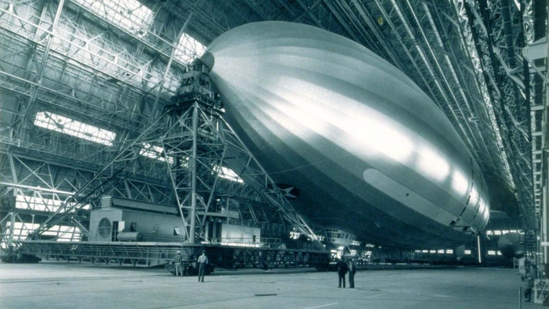 Inside the hanger next to where Brin is building his dirigible. This is the USS Macon back in 1934. Photo: U.S. Navy