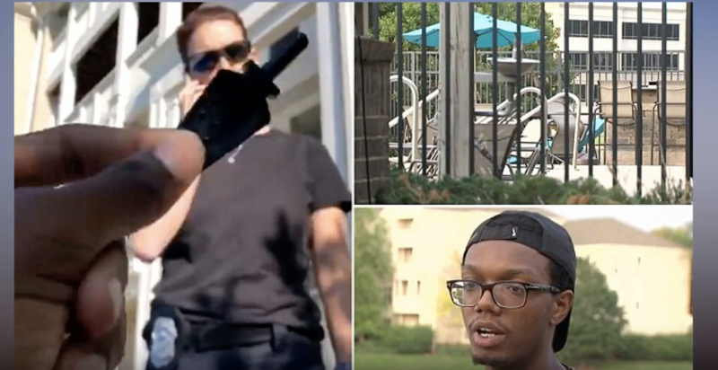 Images from viral video in which Shayne Holland, (bottom) was asked to leave his Indianapolis apartment complex pool despite showing the officer his pool key and the apartment manage confirming that he was an apartment complex resident.