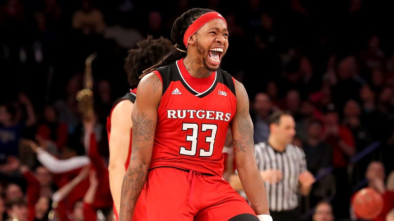 Deshawn Freeman celebrates near the end of Rutgers' upset over Indiana.