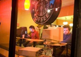 """Illustration for article titled Pranksters Bring """"Grande"""" Desktops to Starbucks"""