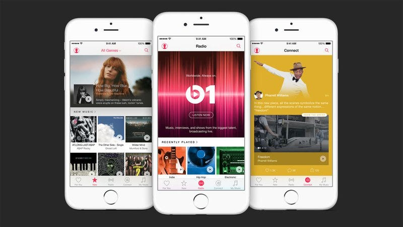 Screenshots of the new Apple Music app (Image: Apple)
