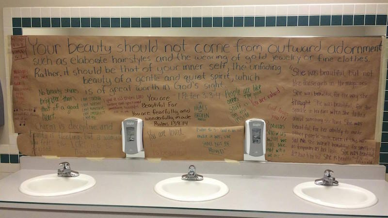 Illustration for article titled Students Cover Mirrors in Girls' Restrooms to Deemphasize Appearance
