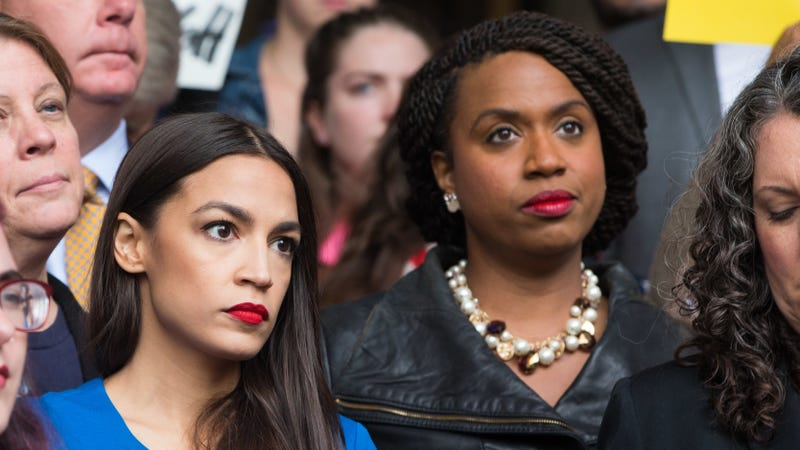 (l-r) Congresswomen-elects Alexandria Ocasio-Cortez (D-NY) and Ayanna Pressley (D-Ma) at a rally calling on Sen. Jeff Flake (R-AZ) to reject Judge Brett Kavanaugh's nomination to the Supreme Court on October 1, 2018 in Boston, Massachusetts.