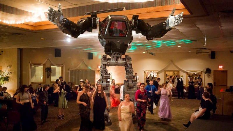 60-Ton Mech Suit on the dance floor separating students.