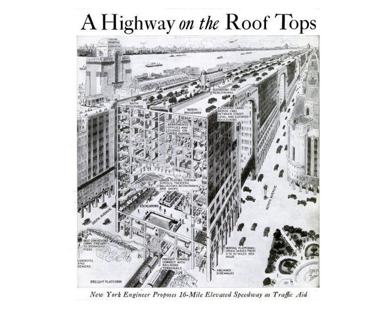 Illustration for article titled That Time New York City Wanted to Put Highways On Top of Its Skyscrapers