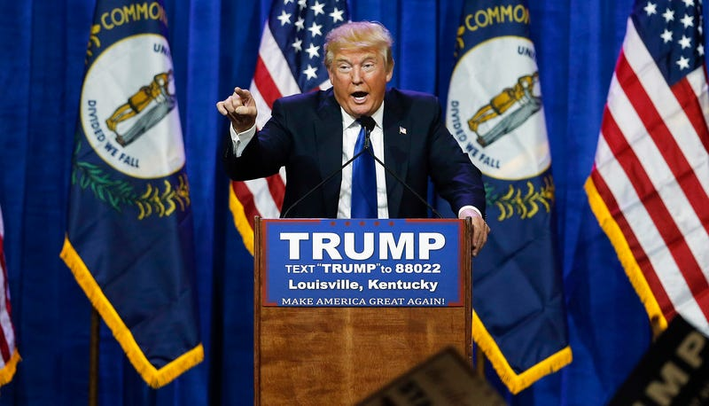 Photo: AP (Pictured: Donald Trump at that March 1, 2016 Louisville campaign event)