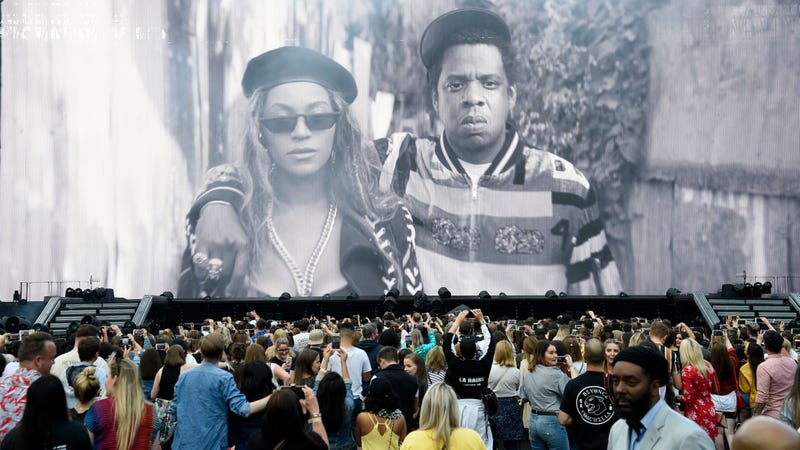 An image of Beyonce and Jay-Z is projected before they appear to perform on stage during the 'On the Run II' Tour at Hampden Park on June 9, 2018 in Glasgow, Scotland.