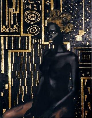 Materia Prima, 2015; pure 24-karat gold, acrylic and gouache; print on matte canvas, 40 by 52 inchesCourtesy of Lina Iris Viktor