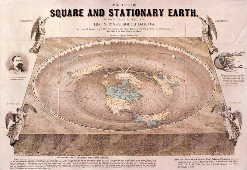 """Illustration for article titled Man realizes he owns the last immensely stupid """"Square Earth"""" map in existence"""