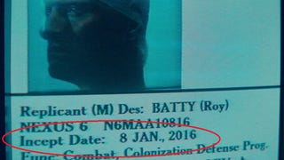 FYI: Roy Batty's incept date is 1/8/16. Just about a year away.