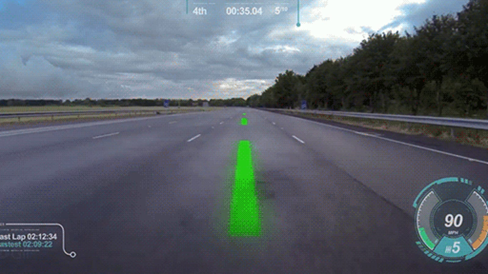 Queremos conducir con un sistema de realidad aumentada como este