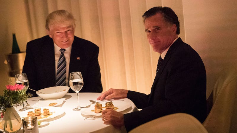 Spineless coward Mitt Romney (right) and wannabe dictator Donald Trump sit down for dinner at Trump Tower in New York on November 29, 2016