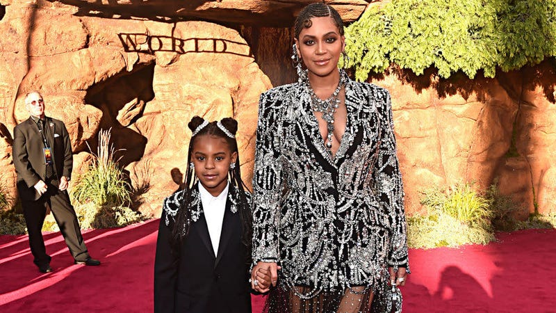 Blue Ivy attends the premiere of The Lion King with mom Beyonce in Hollywood on July 9, 2019.