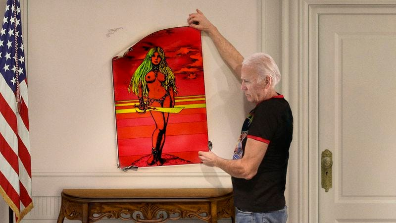 Illustration for article titled Tearful Biden Carefully Takes Down Blacklight Poster Of Topless Barbarian Chick From Office Wall