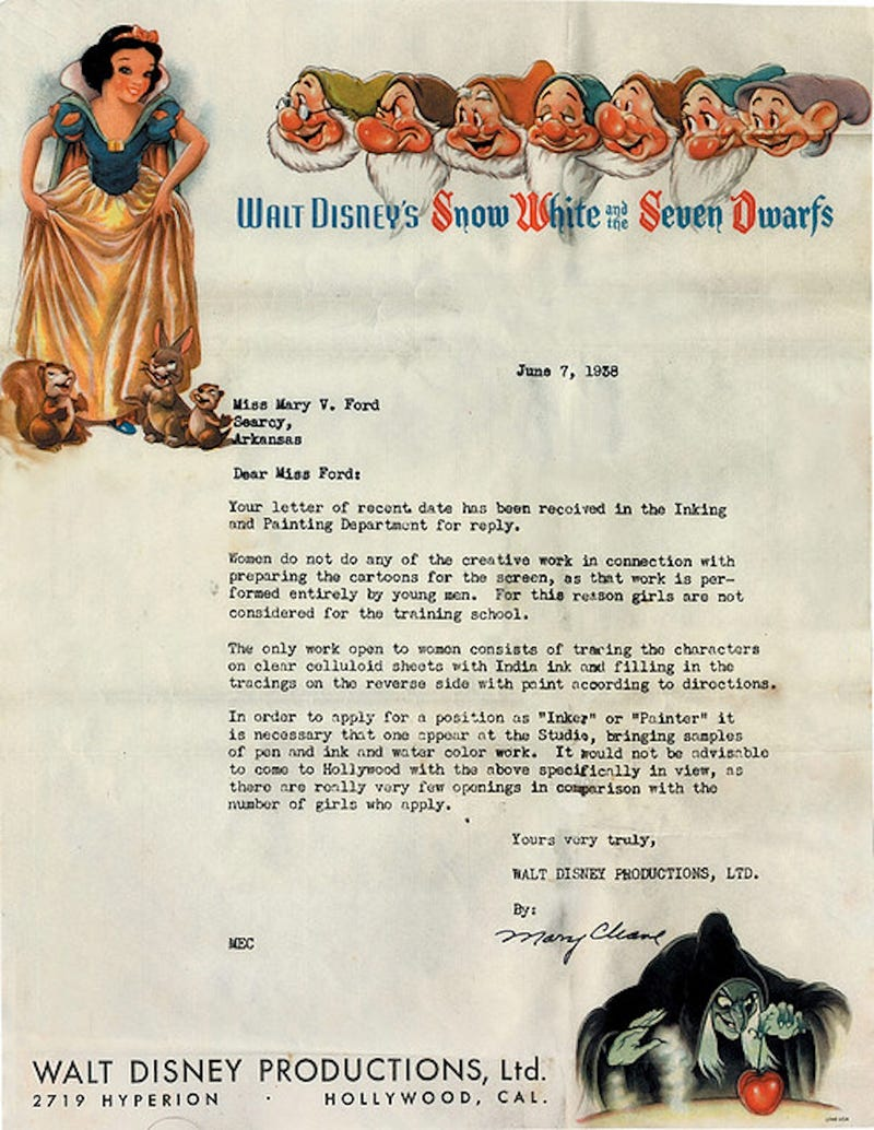 Illustration for article titled In 1938, Disney Didn't Want Your Lady Creativity