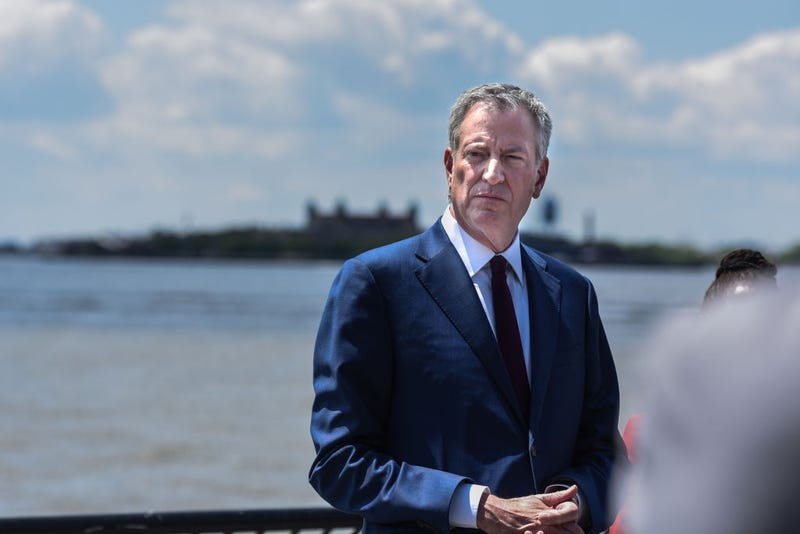 Mayor of New York City Bill de Blasio speaks to members of the media on May 16, 2019 in New York City. The Mayor addressed his presidential aspirations and the green new deal.