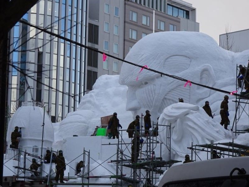 Illustration for article titled A Giant Attack on Titan Snow Sculpture Makes Perfect Sense