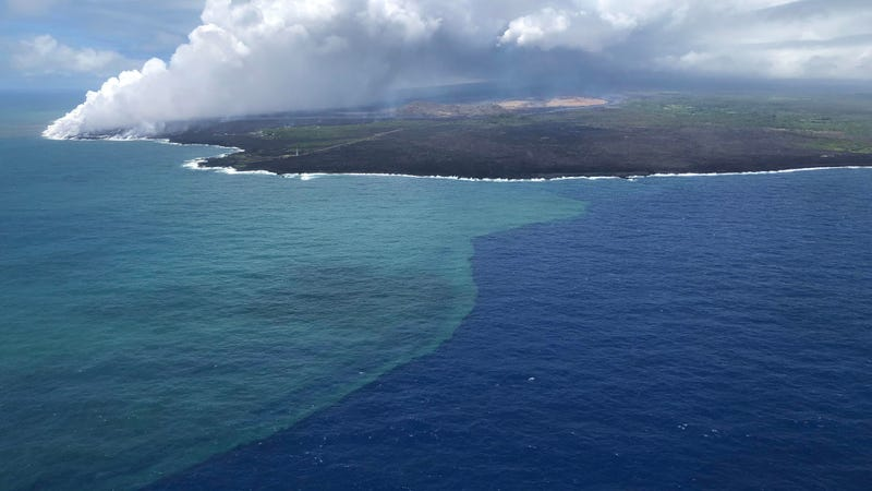 The clearly visible green phytoplankton bloom during the 2018 Kilauea eruption.