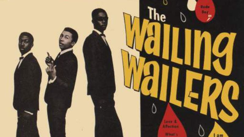 Marley, center, with the rest of The Wailing Wailers