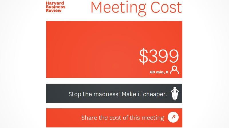 Kalkulator za merjenje stroškov sestankov.