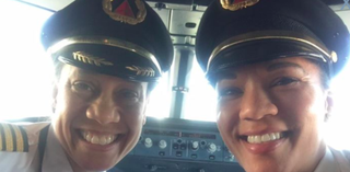 Capt. Stephanie Johnson with First Officer Dawn Cook on Feb. 26, 2017 (Facebook)