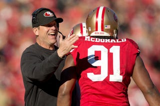 """Illustration for article titled Jim Harbaugh: """"We're Not Going To Flinch"""" And Bench Ray McDonald"""