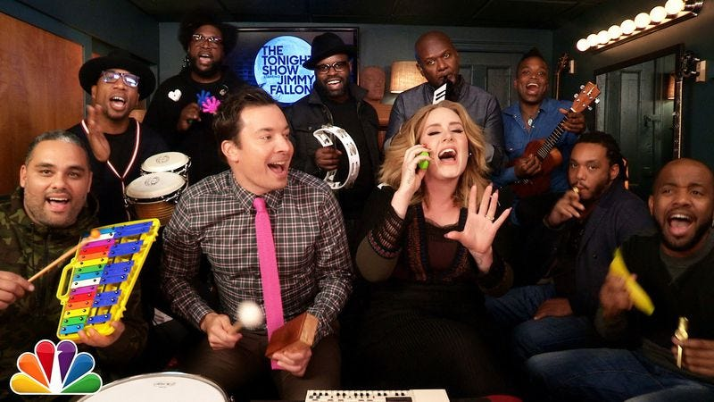 "Illustration for article titled Watch Adele, Jimmy Fallon, and The Roots play ""Hello"" on classroom instruments"