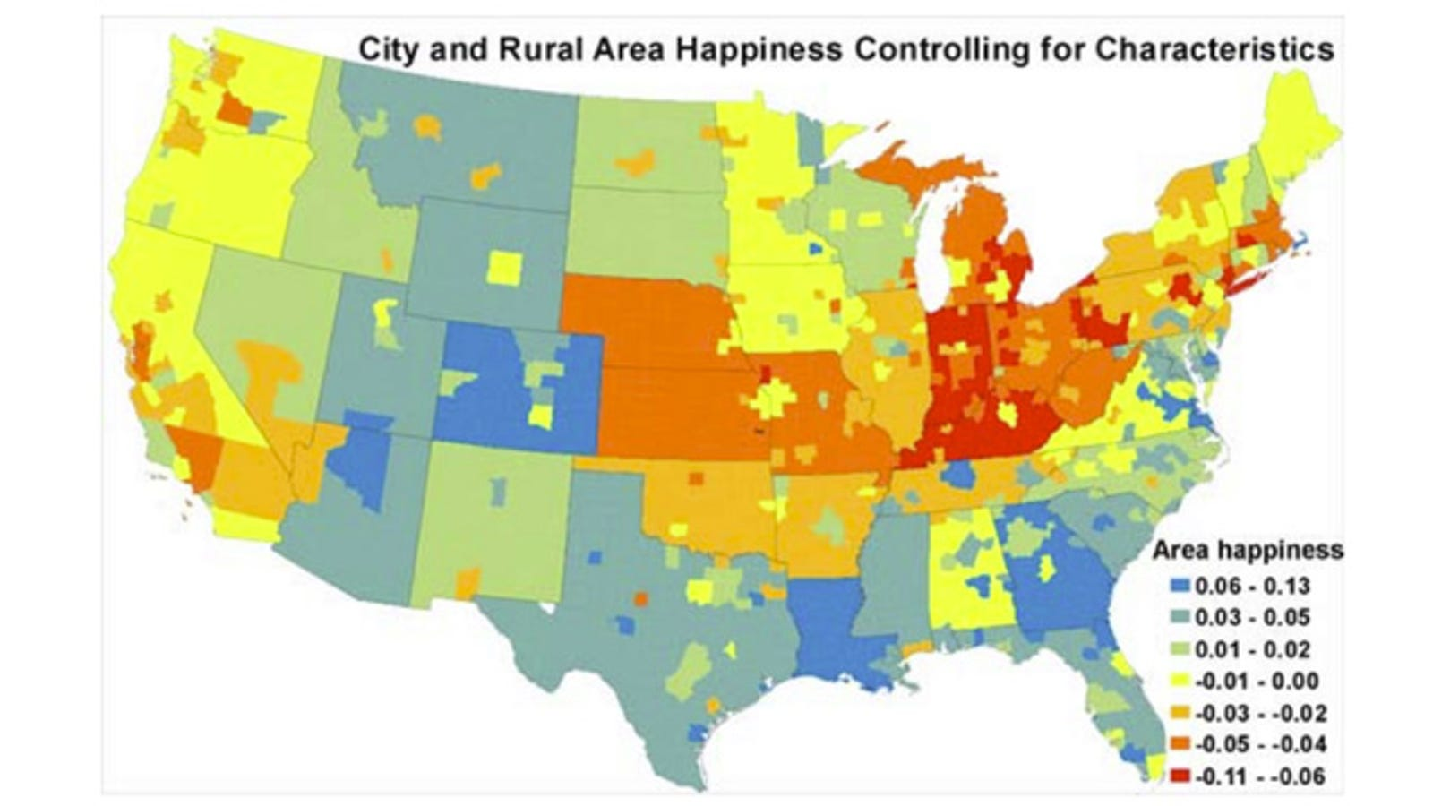 Show Map Of Usa.This Map Shows Where The Happiest And Unhappiest People Live In The Us