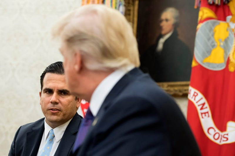 Governor Ricardo Rossello of Puerto Rico speaks with President Donald Trump during a meeting in the Oval Office at the White House on October 19, 2017 in Washington, D.C. Trump and Rossello spoke about the continuing recovery efforts following Hurricane Maria.